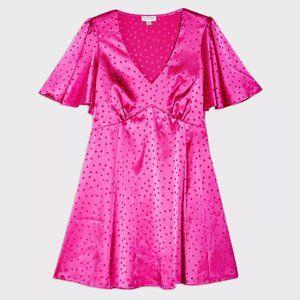 Miss Selfridge pink jacquard tea dress US8 NWT